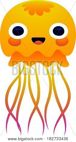 Vector illustration adorable smiling jellyfish character isolated on a white background