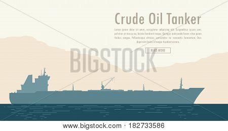 Oil tanker near the shore with mountain range. Vector illustration