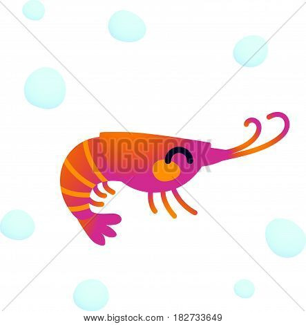 Vector illustration adorable smiling shrimp character isolated on a white background