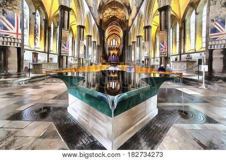 Colorful painting of Salisbury Cathedral interior, Wiltshire, UK