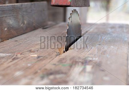 Old machine table sawcircular saw for wood work.