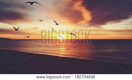 Golden Vintage Sunset At Frankston Beach, Melbourne, Australia.