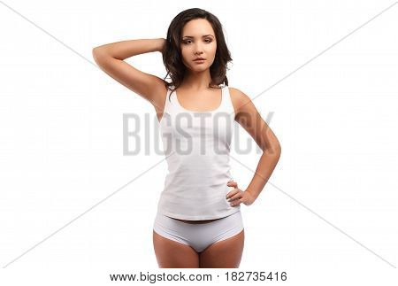 Dark Curly Hair Model In White Cotton Clothes Isolated On White, One Hand On Hip Another Up, Front V