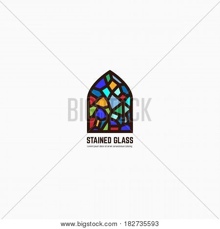 Colorful stained glass window. Logo emblem or icon with text. Thick line style flat style linear vector. Architecture or religious. Bright glass and color window.