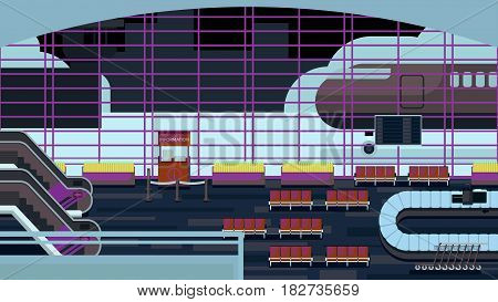 Great airport with panorama view illustration design