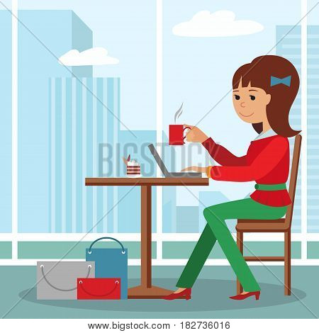 Vector illustration of template for menu, brochure, flyers for a cafe or restaurant with a picture of a young girl sitting at a table drinking coffee and using laptop.