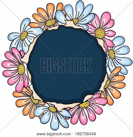 Scalable vectorial image representing a flowers frame labels card, isolated on white.