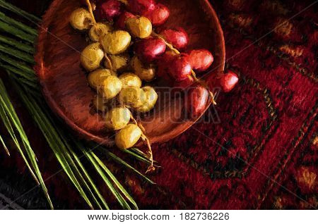 Raw dates - a fine art painting. Un-ripen yellow and red bunch of dates in a wooden pate with palm leaves. An artistic image.