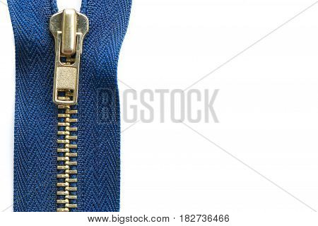Close up blue zipper isolated on white background