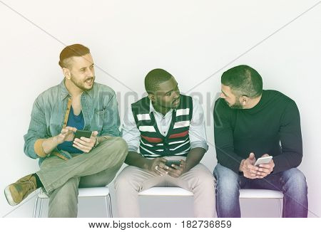 People Friendship Smiling Happiness Togetherness Mobile Phone Technology