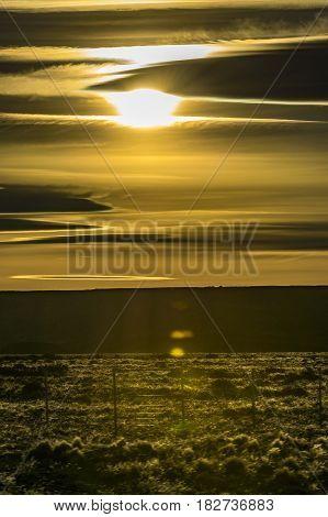 Patagonia Landscape Sunset Scene, Argentina