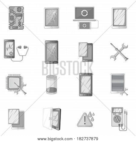 Broken phones fix icons set in monochrome style isolated vector illustration