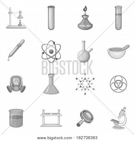 Chemical lab icons set in monochrome style isolated vector illustration