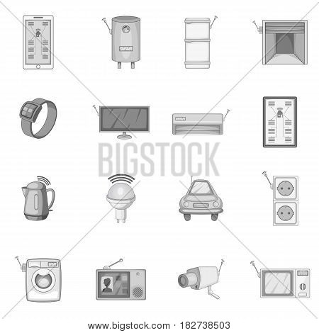 Smart home system icons set in monochrome style isolated vector illustration