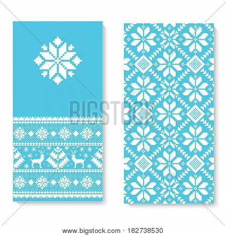 Vector invitation card with folk pattern ornament. Ethnic New Year blue ornament with pine trees and deers. Cool ethnic border element for your designs.