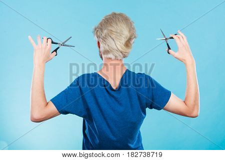 Man With Scissors For Haircutting