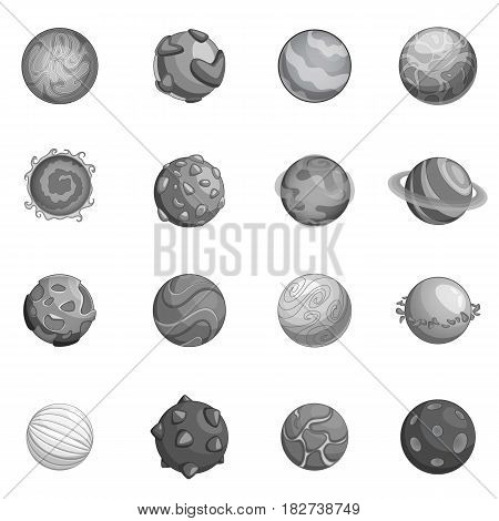Fantastic planets icons set in monochrome style isolated vector illustration