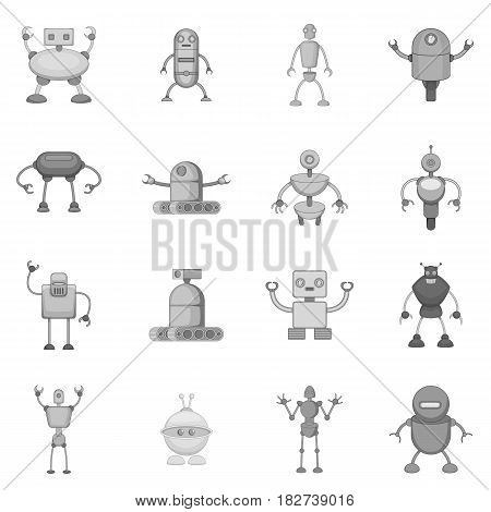 Robot icons set in monochrome style isolated vector illustration