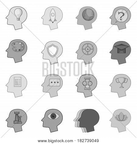 Human mind head icons set in monochrome style isolated vector illustration