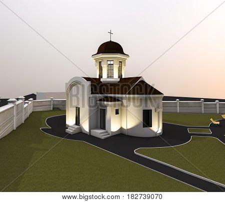 3d ilustration of beautiful little orthodox church