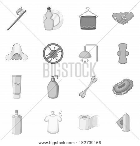 Hygiene icons set in monochrome style isolated vector illustration