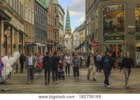 COPENHAGEN, DENMARK - JUNE 29, 2016: This is part of the pedestrian area of Stroget.