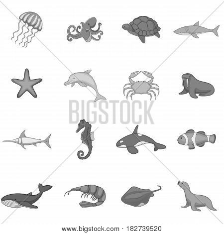 Ocean inhabitants icons set in monochrome style isolated vector illustration