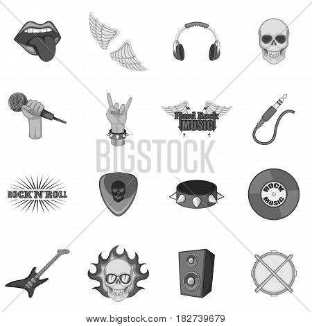 Rock music icons set in monochrome style isolated vector illustration