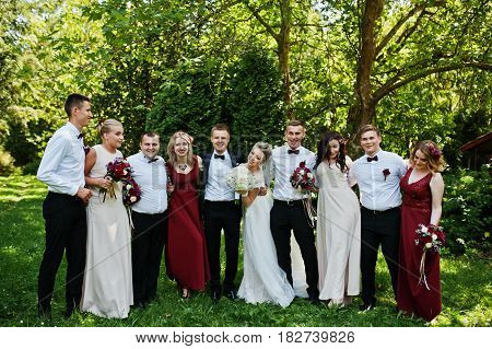 Elegance Wedding Couple With Bridesmaids And Best Mans Having Fun. Crowd Of Friends On Wedding. Ten