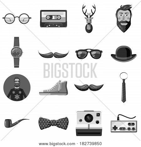 Hipster items icons set in monochrome style isolated vector illustration