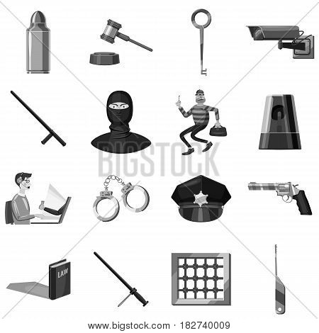 Criminal symbols icons set in monochrome style isolated vector illustration