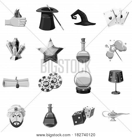 Magician icons set in monochrome style isolated vector illustration