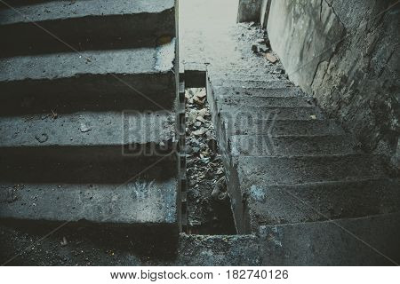 Old staircase in abandoned house. Abstract background.