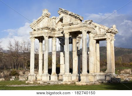 Built in 3rd century the monumental Gateway stands at the entrance to ancient Greek city Aphrodisias (Turkey).