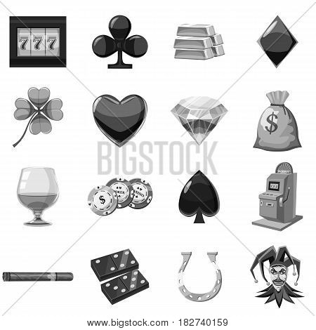 Casino icons set in monochrome style isolated vector illustration