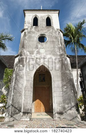 The entrance to historic St. Francis Xavier Cathedral in Nassau city (Bahamas).