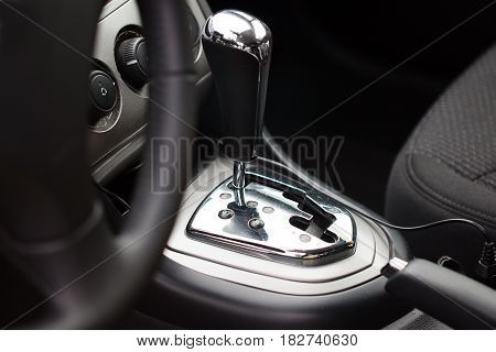 The lever of a choice of an automatic transmission of the modern car
