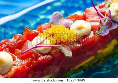 Tuna fish Tartare Tartar with wakame seaweed and soya