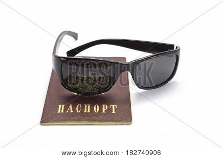 The passport of the citizen of Russia with dark glasses