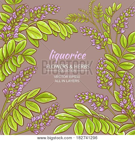liquorise branches vector frame on color background