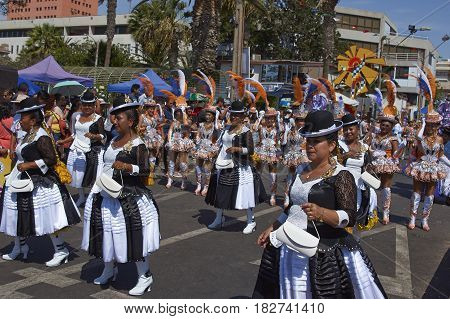 ARICA, CHILE - FEBRUARY 11, 2017: Morenada Dance Group performing during a street parade at the annual Carnaval Andino con la Fuerza del Sol in Arica, Chile.