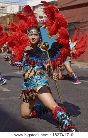 ARICA, CHILE - FEBRUARY 11, 2017: Tobas dancer in ornate costume performing at the annual Carnaval Andino con la Fuerza del Sol in Arica, Chile