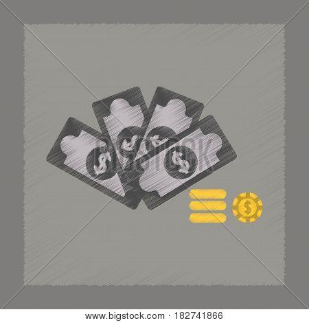flat shading style icon poker Money dice chips