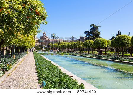 The Famous Alcazar De Los Reyes Cristianos With Beautiful Garden In Cordoba
