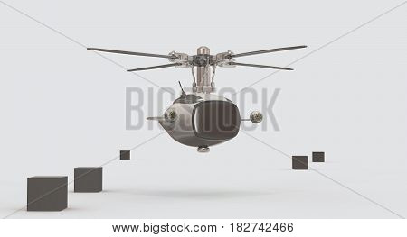Drone With Tv Display 3D Rendering