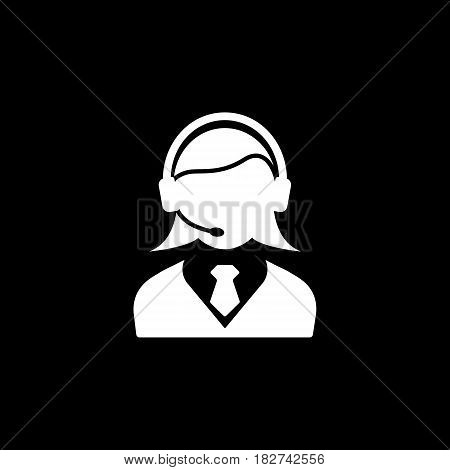 Online consulting solid icon, seo and development, female operator sign, a filled pattern on a black background, eps 10.