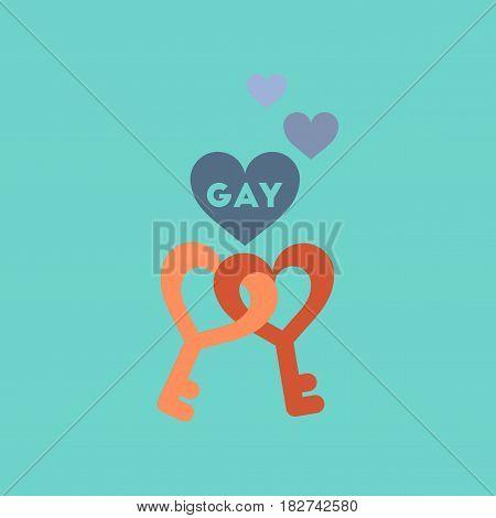 flat icon on stylish background gays keys love
