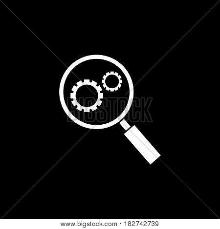 Research optimization solid icon, seo and development, Magnifier with cog, a filled pattern on a black background, eps 10.