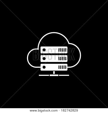Cloud hosting solid icon, seo and development, data base server sign, a filled pattern on a black background, eps 10.