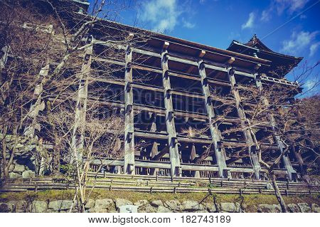 Kiyomizu-Dera temple in Kyoto during summer season Japan. Outdoor at the daytime with beautiful blue sky and clouds. Vacation background.